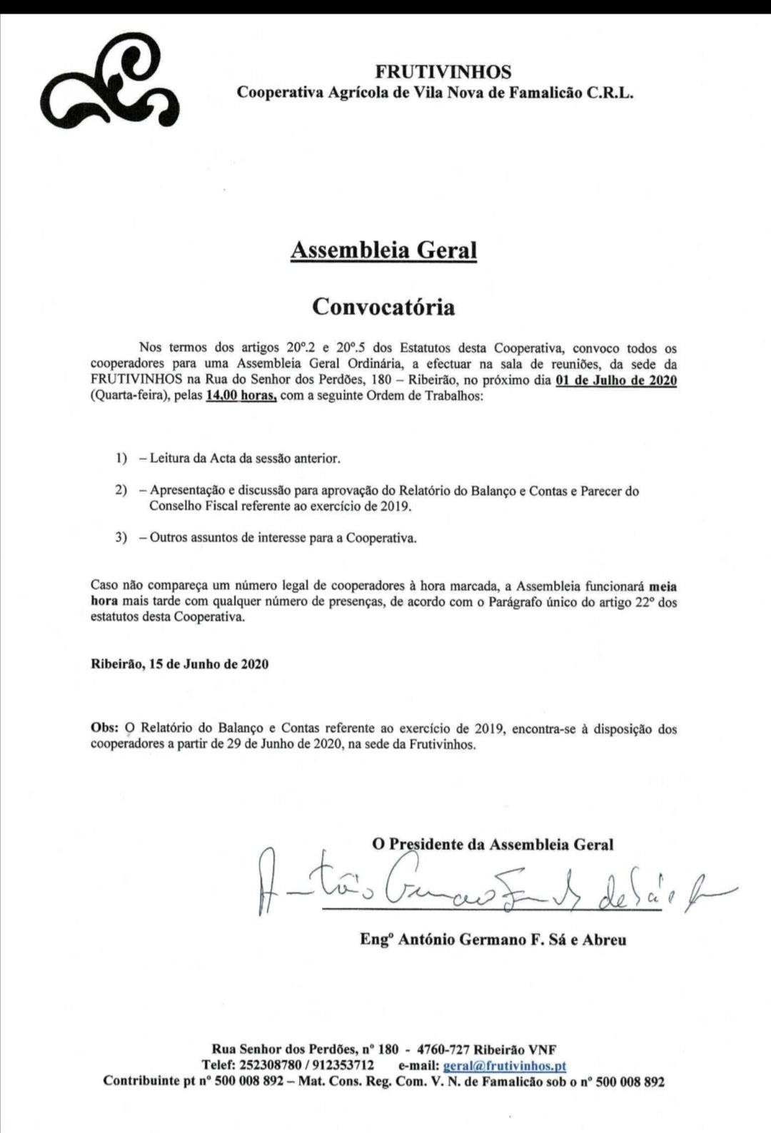 Convocatória – Assembleia Geral